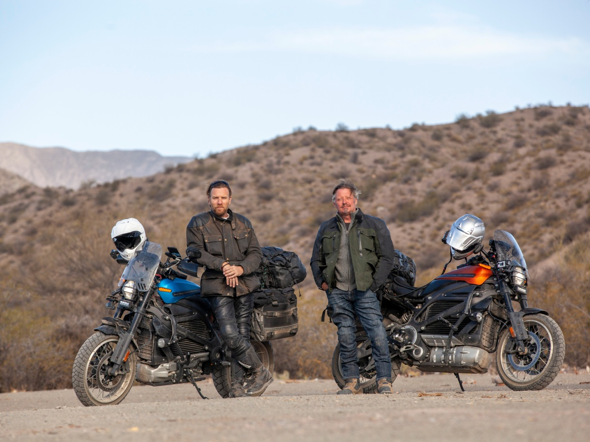 Ewan McGregor and Charlie Boorman with their electric Harley-Davidson LiveWires