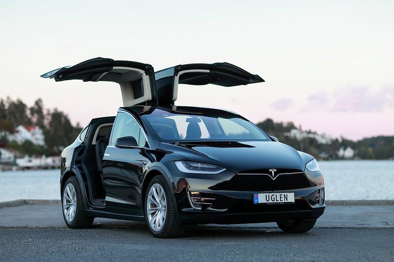 Tesla Model X with Falcon Wing Doors Open