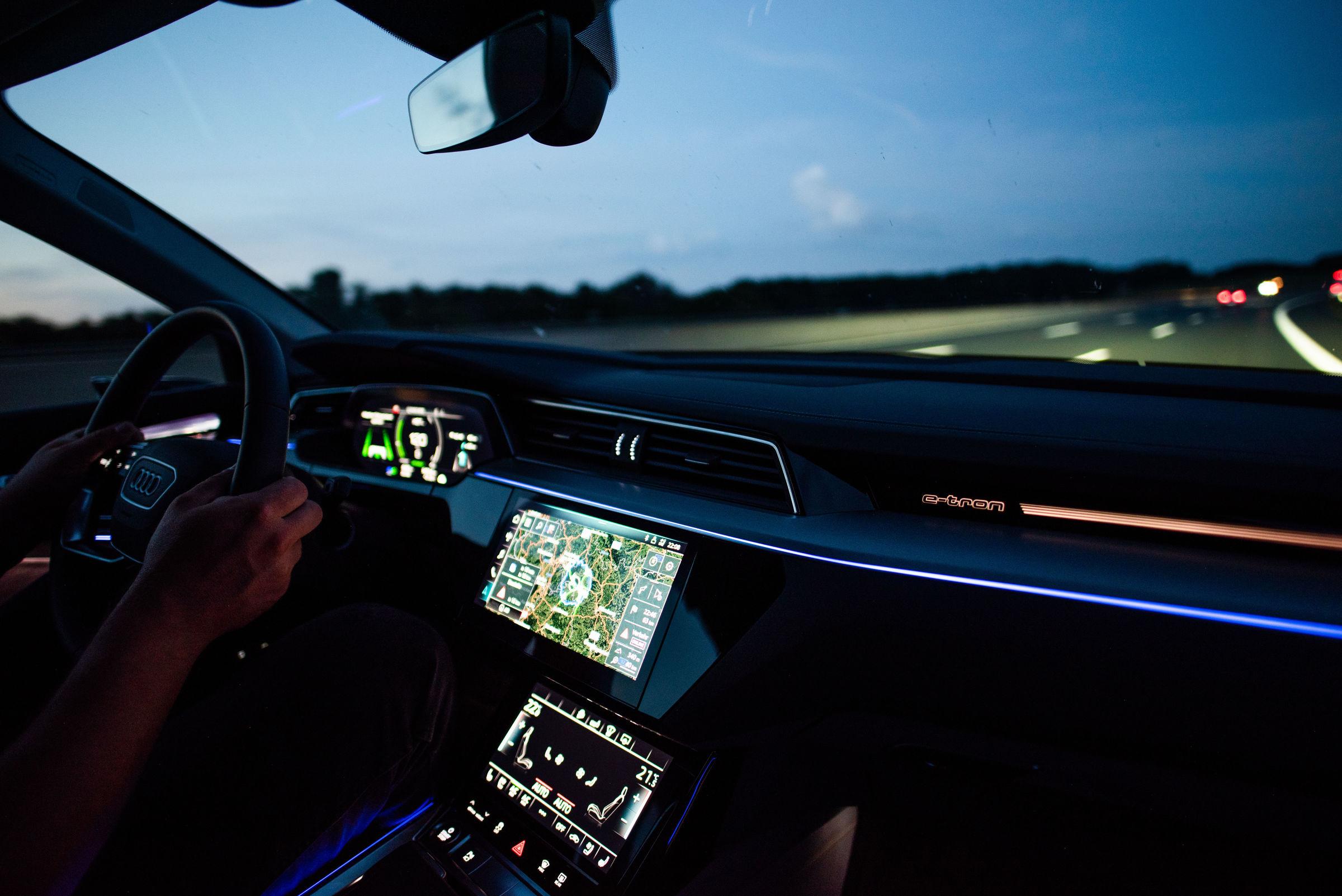 Audi e-tron dashboard at night