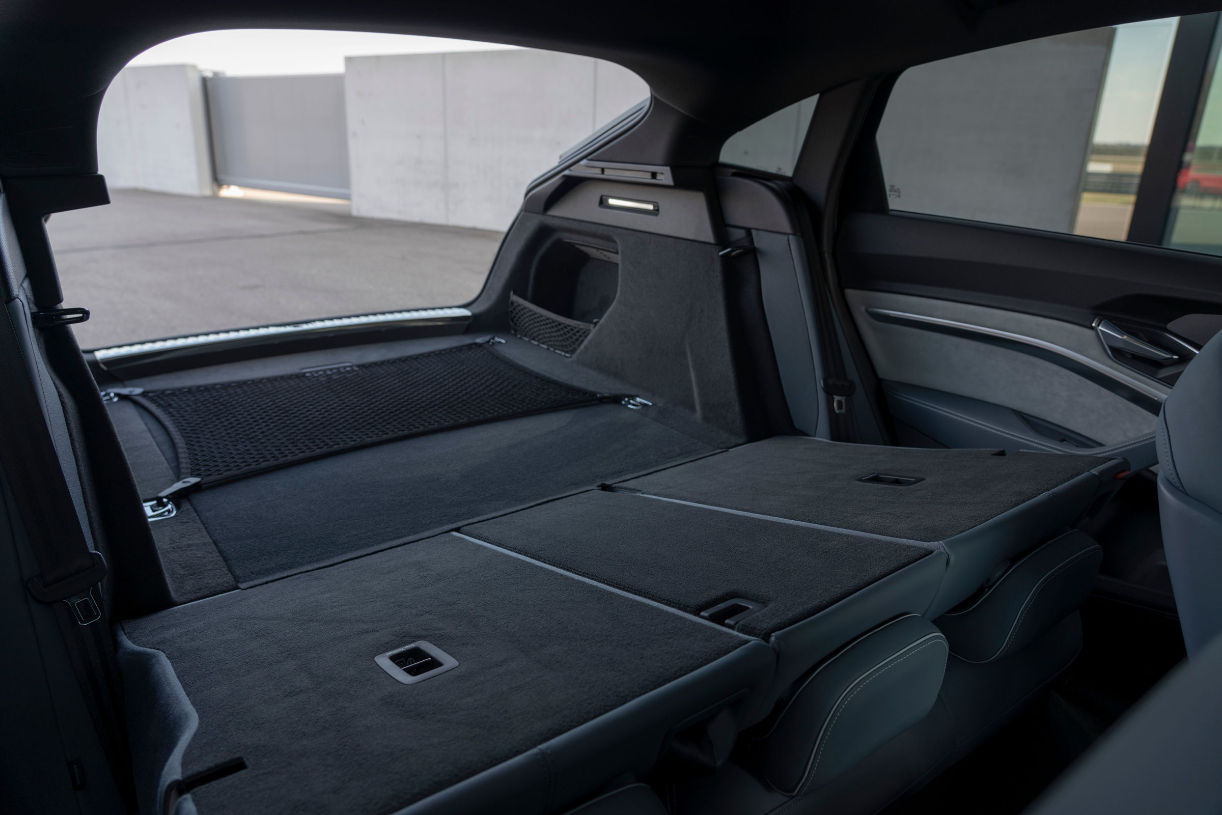 Audi e-tron Sportback trunk with seats folded down