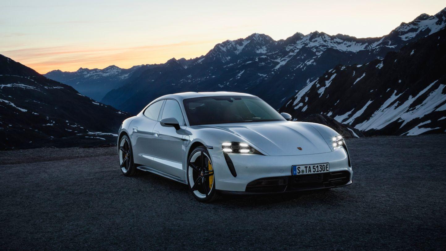 Porsche Taycan white front view