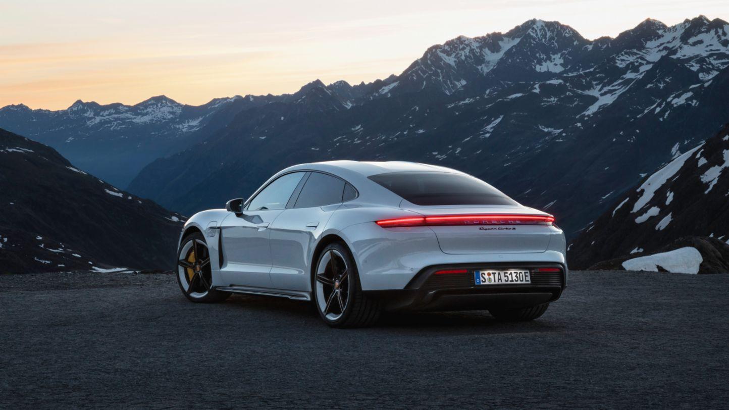 Porsche Taycan white rear view