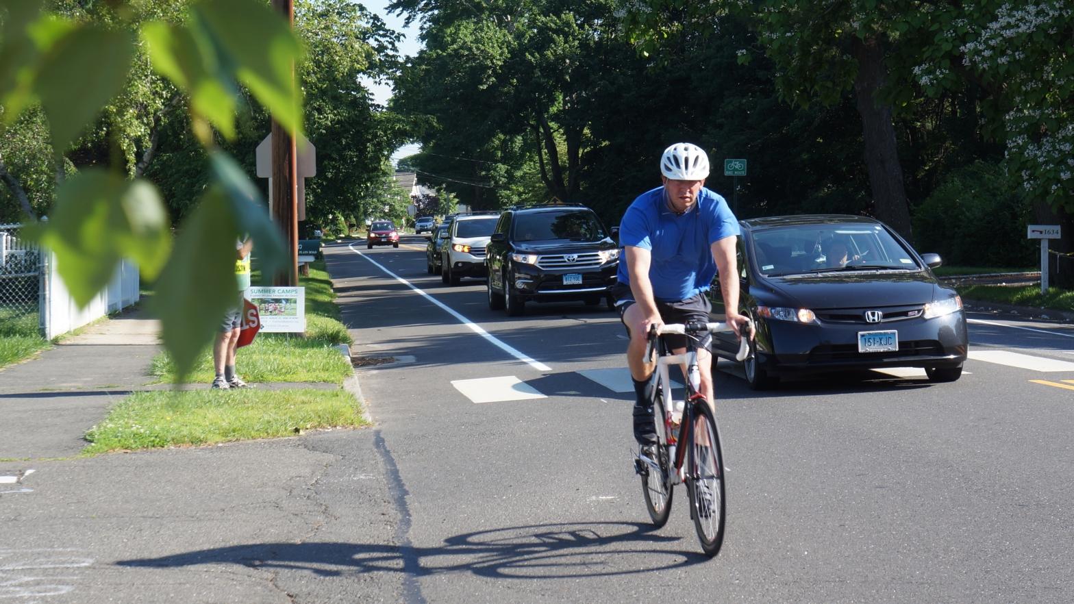 Bicyclist on Mill Plain Rd.