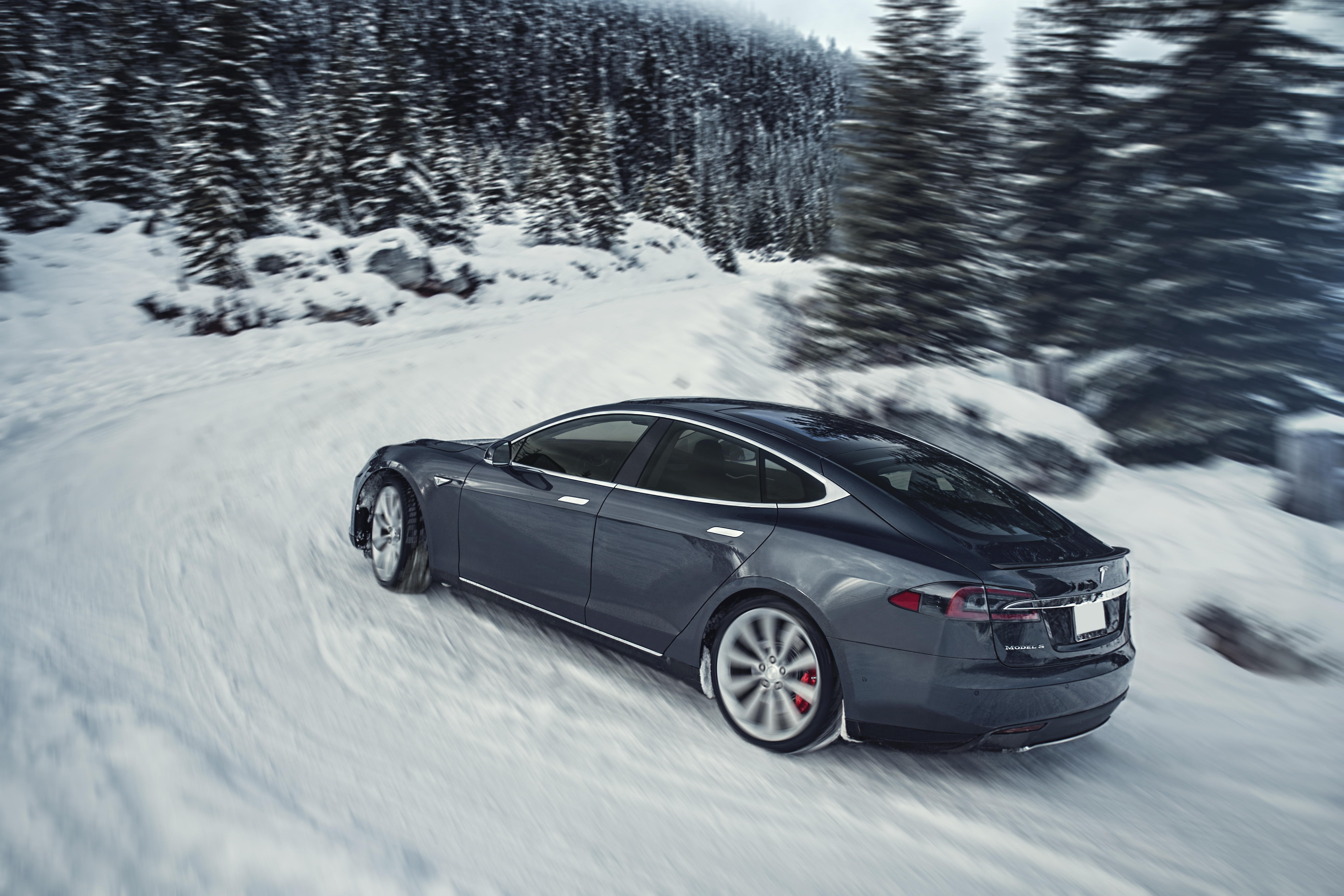 Grey Model S Winter Turn