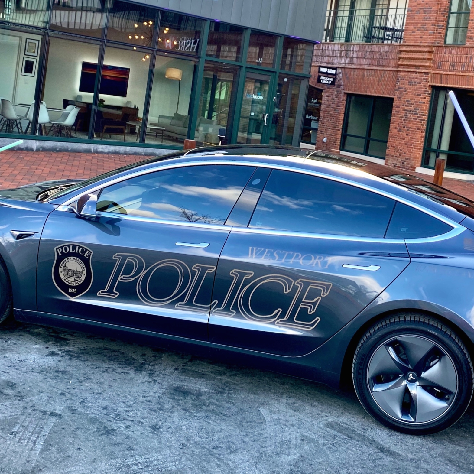 Westport CT Tesla Model 3 Police Car