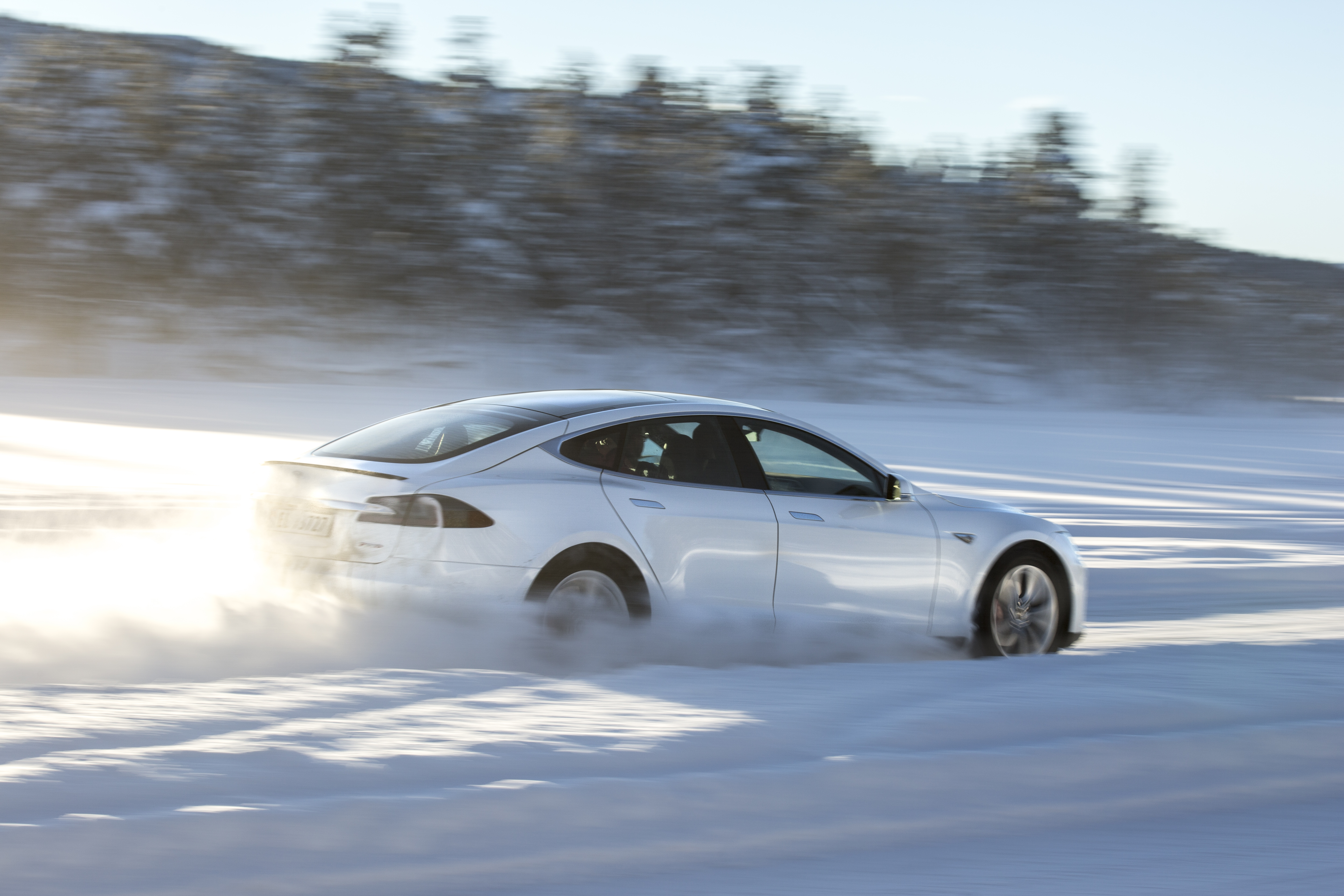 White Model S Snow Spray